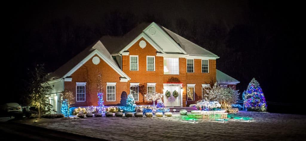 Brick home in the wintertime